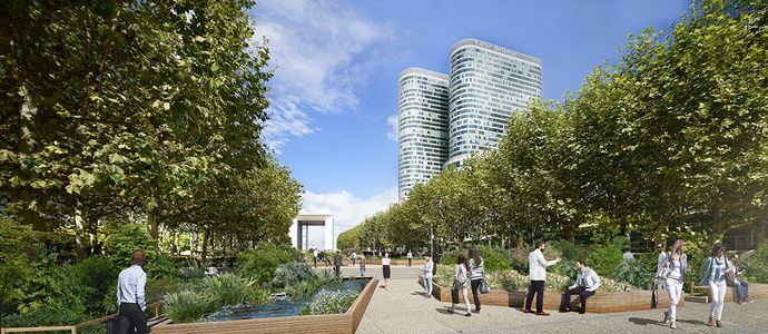 Paris La Défense's new green lung park in the making