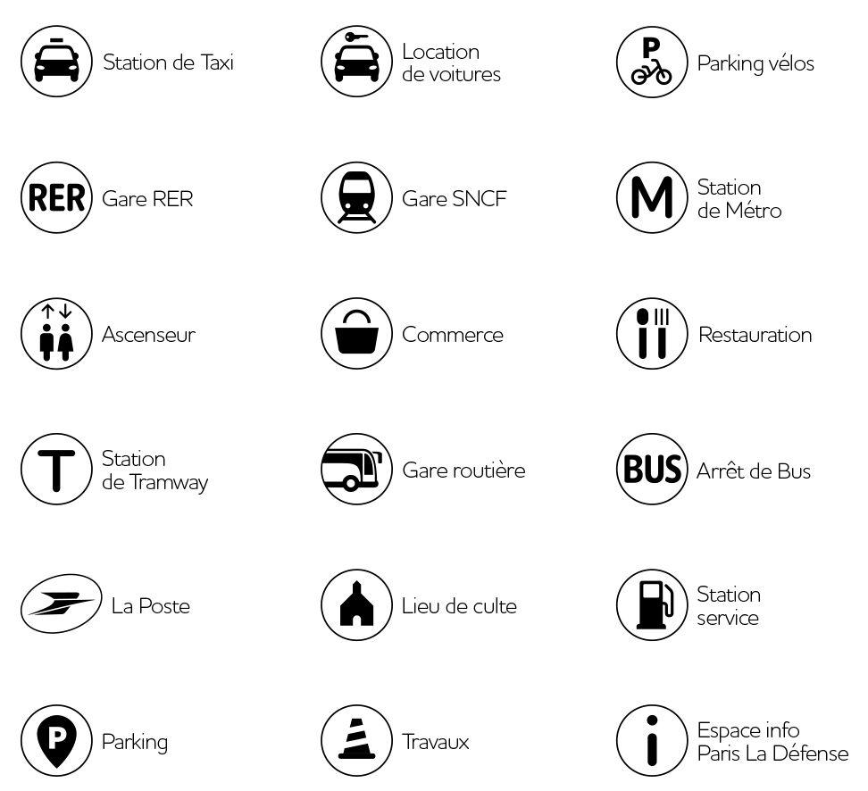 Légende des pictogrammes du plan de Paris La Défense
