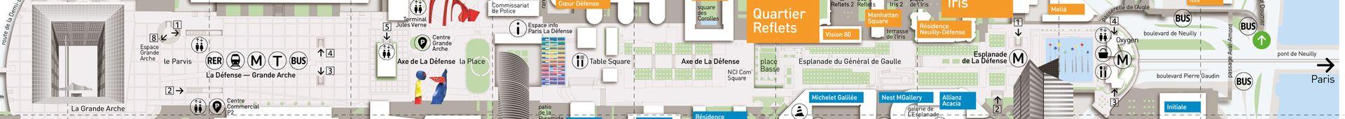 Plan piéton Paris La Défense Axe de La Défense